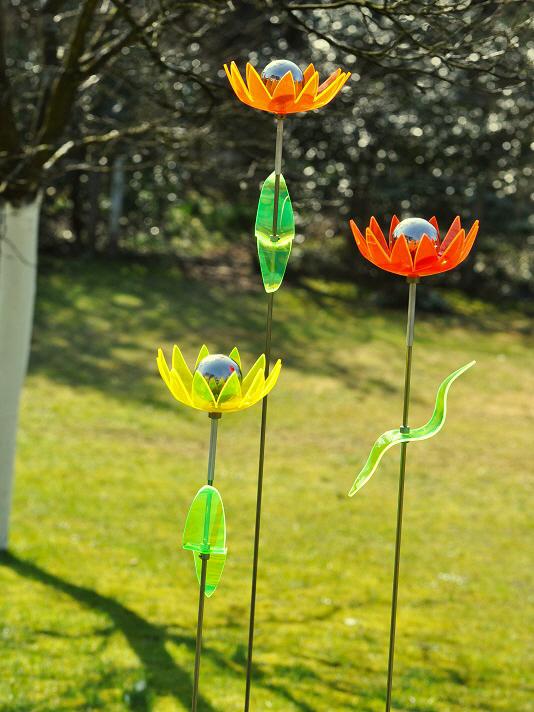gartenstecker windspiel edelstahl, gartenstecker seerose, Design ideen